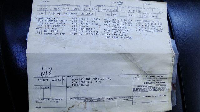 1964 Pontiac BONNEVILLE W/BUILD SHEET 2 DOOR SPORT COUPE A/C, 51,000 ORIG MILES Phoenix, Arizona 7