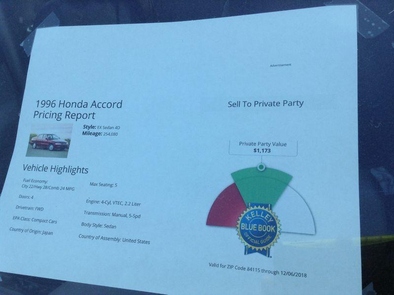 1996 Honda Accord Sdn EX  in Salt Lake City, UT