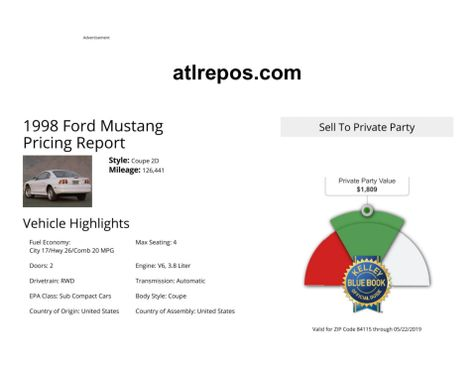 1998 Ford Mustang  in Salt Lake City, UT