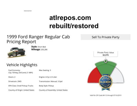 1999 Ford Ranger XL in Salt Lake City, UT