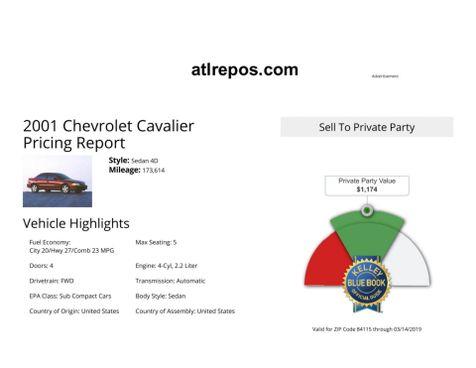 2001 Chevrolet Cavalier  in Salt Lake City, UT