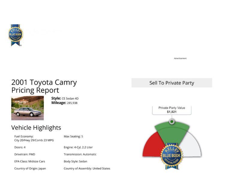 2001 Toyota Camry CE  in Salt Lake City, UT