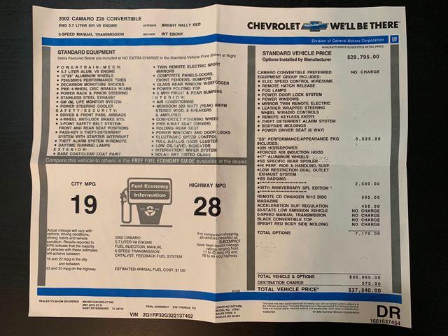 2002 Chevrolet Camaro SS 35TH ANNIVERSARY in Jacksonville , FL 32246