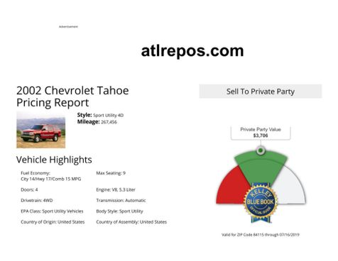2002 Chevrolet Tahoe LT in Salt Lake City, UT