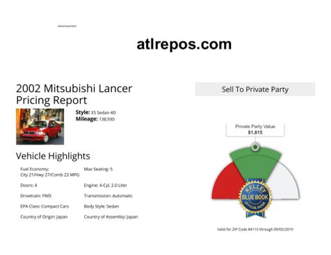 2002 Mitsubishi Lancer ES in Salt Lake City, UT