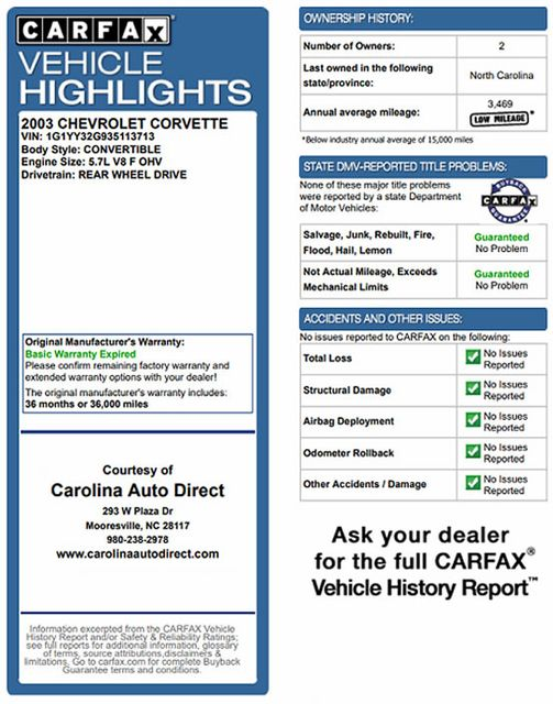 2003 Chevrolet Corvette 50TH ANNIVERSARY EDITION -  MAGNETIC RIDE CONTROL! Mooresville , NC 3