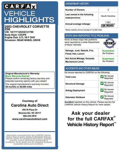 2003 Chevrolet Corvette Z06 MEMORY PKG- CORSA EXHAUST- HURST SHIFTER - VR! Mooresville , NC 3