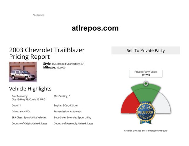 2003 Chevrolet TrailBlazer EXT LS Salt Lake City, UT