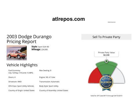 2003 Dodge Durango Sport in Salt Lake City, UT