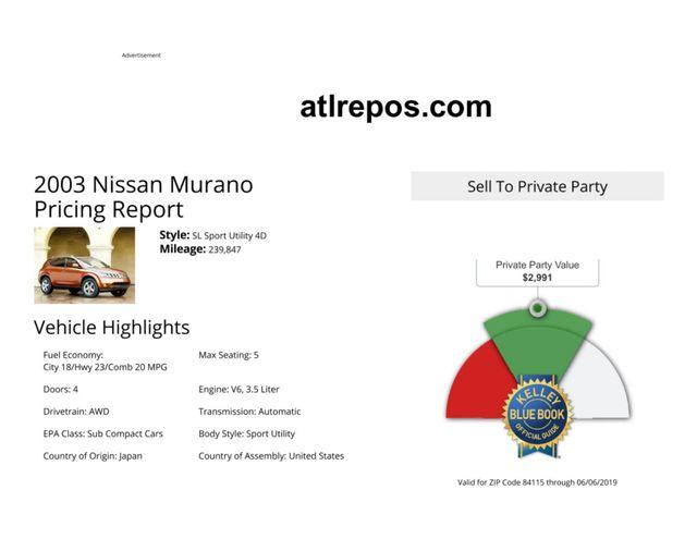 2003 Nissan Murano SE Salt Lake City, UT