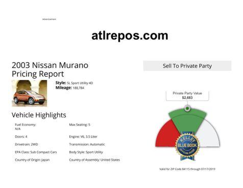2003 Nissan Murano SL in Salt Lake City, UT