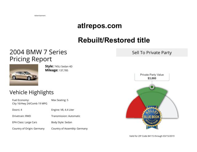 2004 BMW 745Li Salt Lake City, UT
