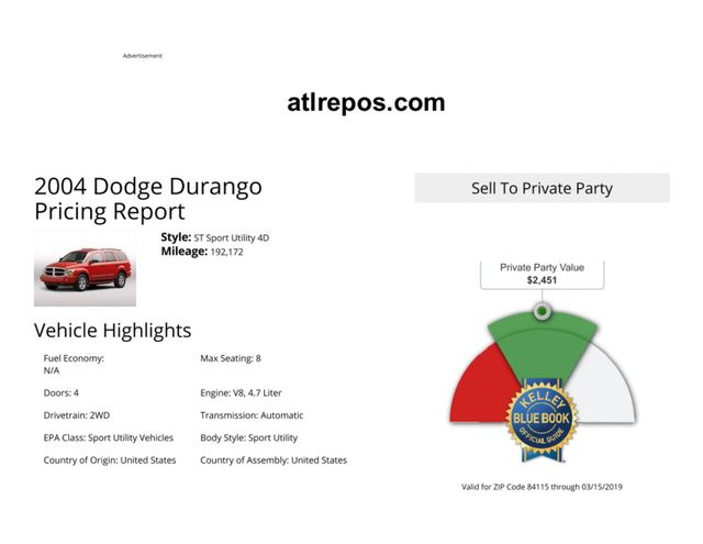 2004 Dodge Durango SLT Salt Lake City, UT