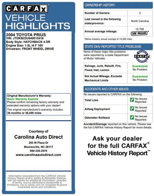 2004 Toyota Prius Hybrid FWD - Pkg 1 - ?51 MPG CITY/60 MPG HWY! Mooresville , NC 3