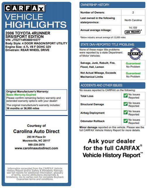2006 Toyota 4Runner SR5 Sport RWD - 4.7L V8 ENGINE - JBL - LEATHER! Mooresville , NC 3