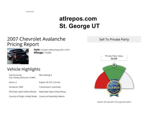 2007 Chevrolet Avalanche LT w/2LT in Salt Lake City, UT