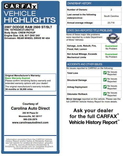 2007 Dodge Ram 2500 SLT Quad Cab Long Bed 4X4 THUNDERROAD - 5.9L! Mooresville , NC 3