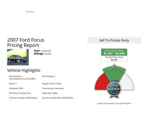 2007 Ford Focus S in Salt Lake City, UT