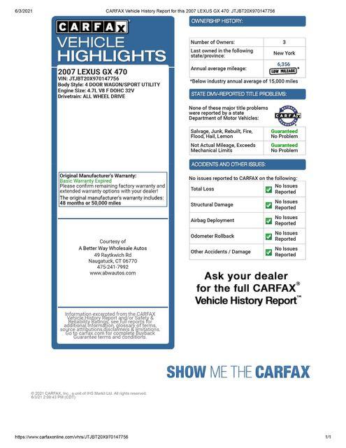 2007 Lexus GX 470 4WD Naugatuck, Connecticut 1