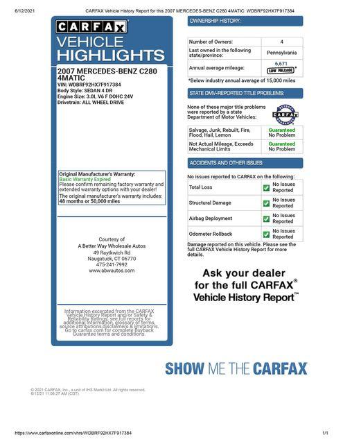 2007 Mercedes-Benz C280 3.0L Luxury Naugatuck, Connecticut 1
