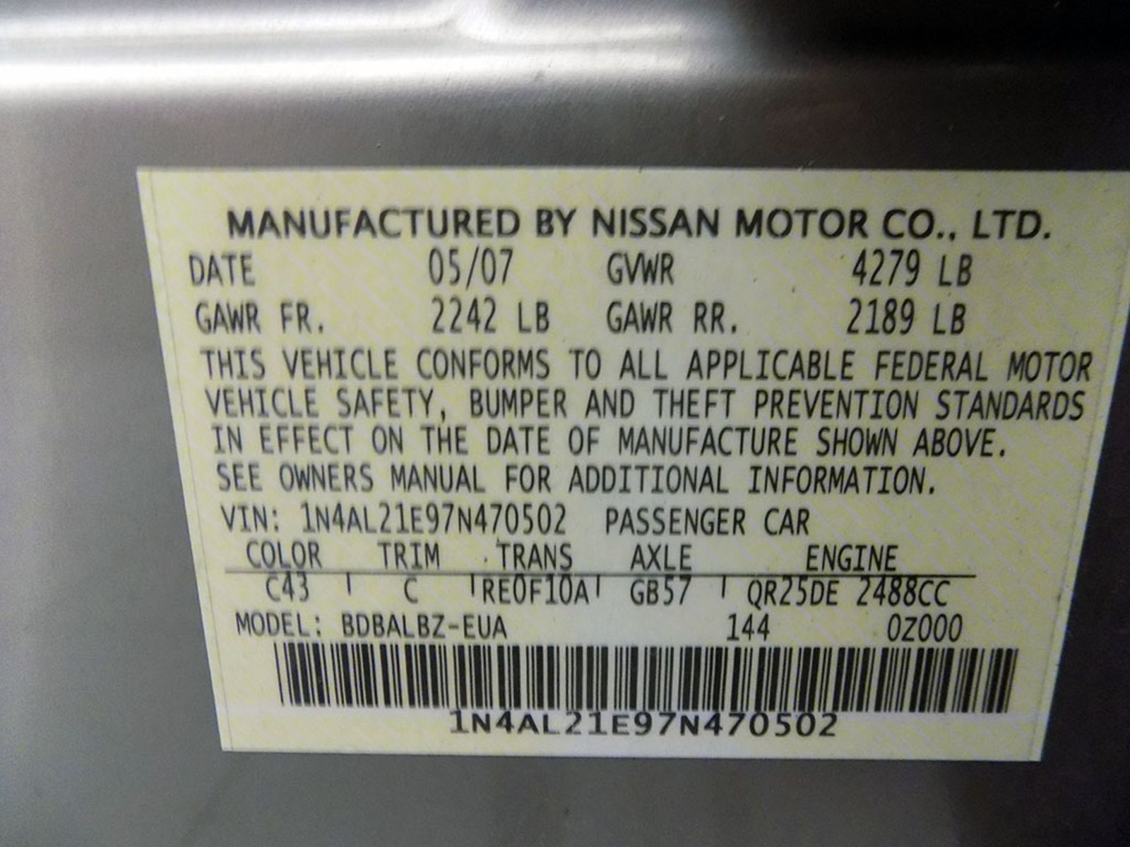 ... 2007 Nissan Altima 25 S As low as 799 DOWN city Ohio North Coast Auto  Mall ...