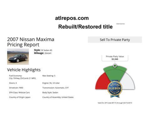2007 Nissan Maxima 3.5 SL in Salt Lake City, UT