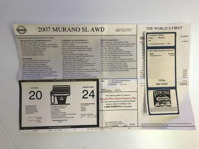2007 Nissan Murano SL in Richmond, VA, VA 23227