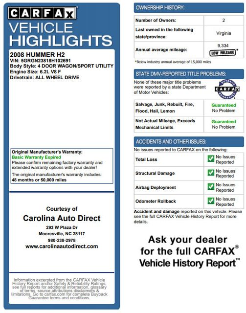 2008 Hummer H2 SUV LUXURY EDITION 4X4 - NAV - REAR DVD - SUNROOF! Mooresville , NC 3