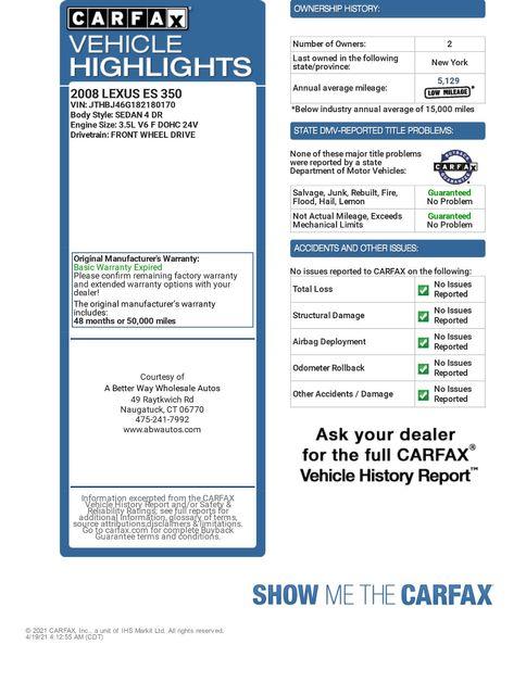 2008 Lexus ES 350 Naugatuck, Connecticut 1