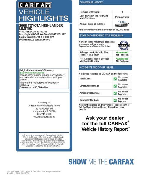 2008 Toyota Highlander Limited 4WD Naugatuck, Connecticut 1