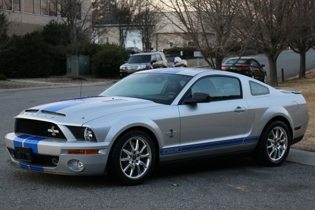 2009 Ford Mustang Shelby GT500KR: 2009 SHELBY GT 500 KR,SILVER/BLK LEATHER,BLUE STRIPES,6SPD,ONLY 1500 ACTUAL MI.