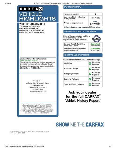 2009 Honda Civic LX Naugatuck, Connecticut 1