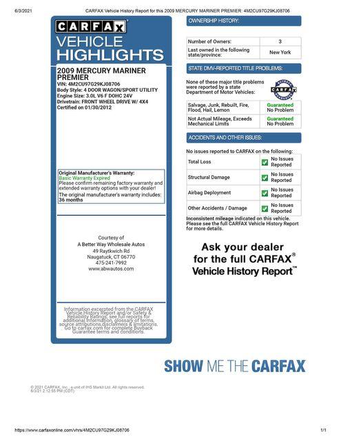 2009 Mercury Mariner Premier 4WD Naugatuck, Connecticut 1