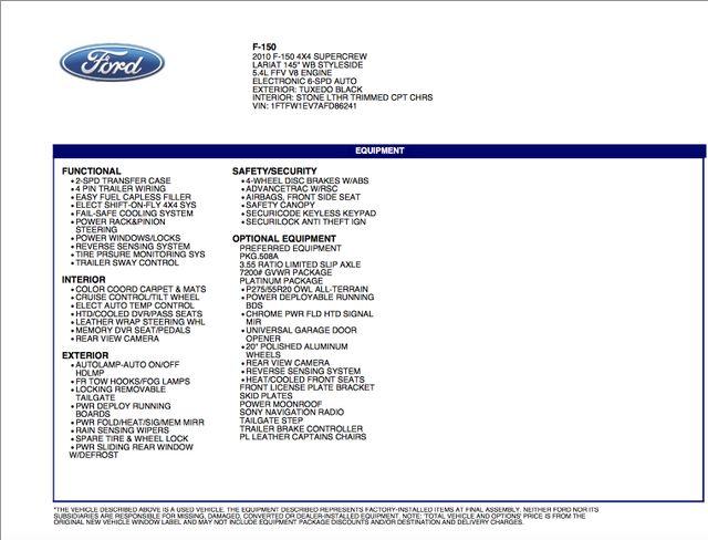 2010 Ford F-150 Platinum 4X4 in Addison Texas, 75001