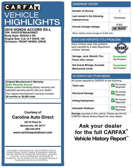 2010 Honda Accord EX-L - SUNROOF - HEATED LEATHER - BLUETOOTH! Mooresville , NC 3