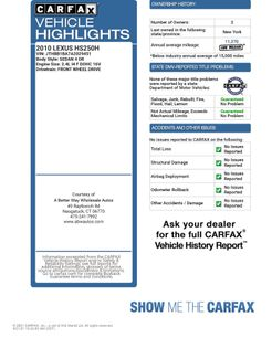 2010 Lexus HS 250h Premium Naugatuck, Connecticut 1