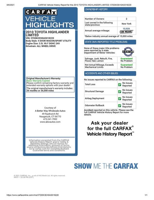 2010 Toyota Highlander Limited 4WD Naugatuck, Connecticut 1