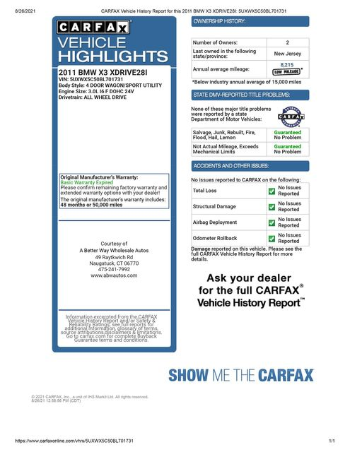 2011 BMW X3 xDrive28i 28i Naugatuck, Connecticut 1