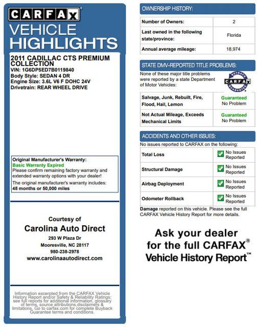 2011 Cadillac CTS Sedan Premium RWD - PERFORMANCE PKG - NAV - SUNROOFS! Mooresville , NC 3
