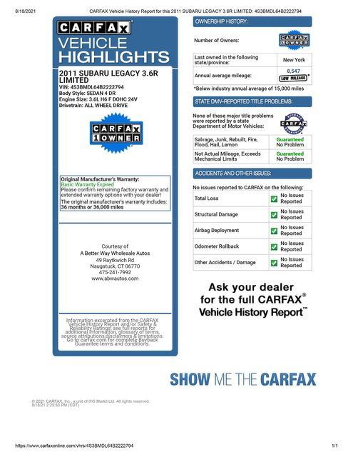 2011 Subaru Legacy 3.6R Ltd Pwr Moon/Navigation Naugatuck, Connecticut 1