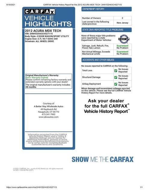 2012 Acura MDX Tech/Entertainment Pkg Naugatuck, Connecticut 1