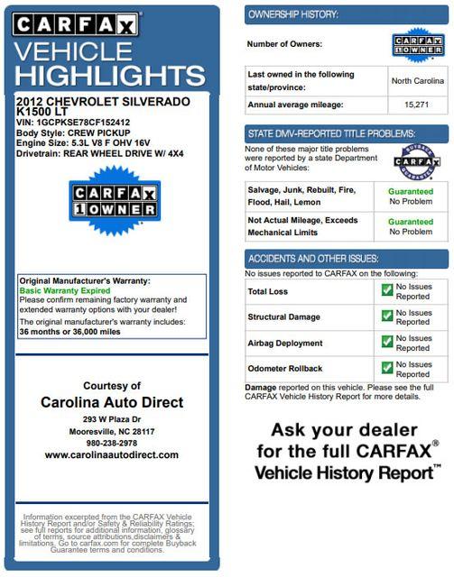 2012 Chevrolet Silverado 1500 LT Crew Cab 4x4- ALL STAR EDITION- PERAGON TONNEAU Mooresville , NC 3