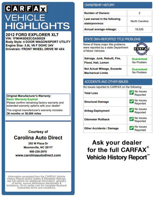 2012 Ford Explorer XLT 4x4 - LEATHER INTERIOR - SYNC W/ BLUETOOTH! Mooresville , NC 3