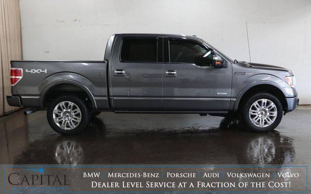2012 Ford F-150 Platinum Crew Cab 4x4 EcoBoost w/Navigation, Heated/Cooled Seats, Moonroof and 2-Tone Interior