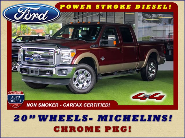 """2012 Ford Super Duty F-250 Pickup Lariat Crew Cab 4x4- 20"""" CHROME WHEELS- MICHELINS! Mooresville , NC 0"""