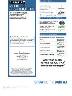 2012 Honda Civic LX Naugatuck, Connecticut 1