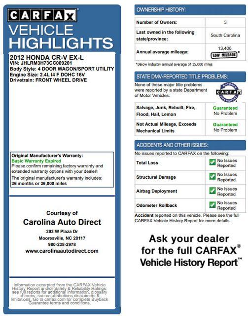 2012 Honda CR-V EX-L FWD - SUNROOF - HEATED LEATHER! Mooresville , NC 3