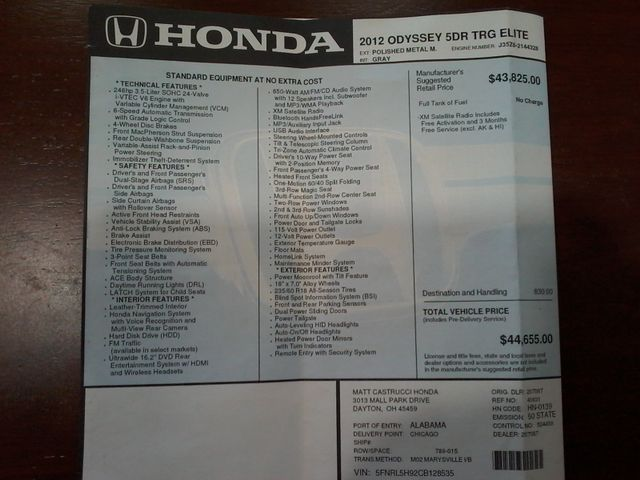 2012 Honda Odyssey Touring Boerne, Texas 37