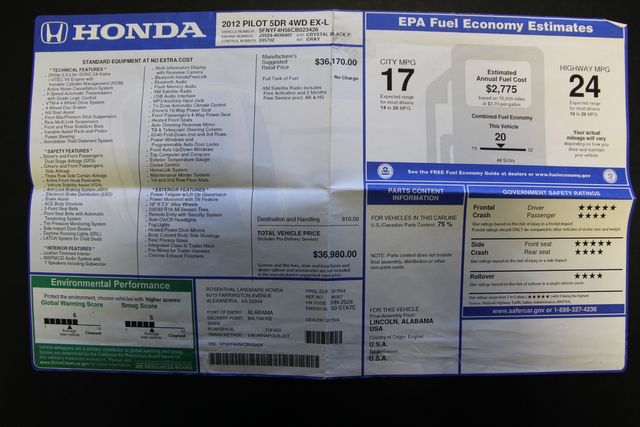 2012 Honda Pilot EX-L 4WD Richmond, Virginia 37