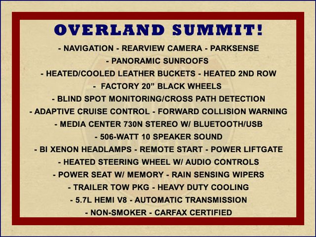 2012 Jeep Grand Cherokee Overland Summit 4x4 - 5.7L HEMI - NAV - SUNROOFS! Mooresville , NC 1